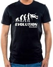 T-shirt humoristique pour homme, haut de marque en coton, haut de base, évolution Escalade