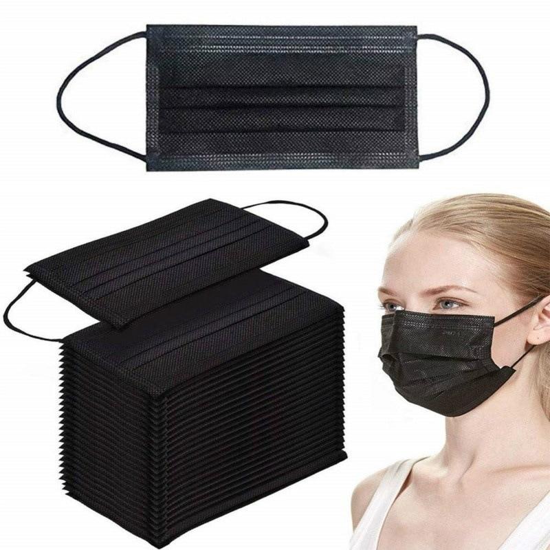 20/50/100/200/300/400 шт., 3-слойная одноразовая маска для лица, черная маска для взрослых, маска для рта из нетканого материала, маска для ушей, маска для рта