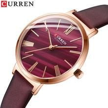 CURREN kreatywny damski zegarek skórzany pasek kwarcowy kobieta zegarek klasyczny prosty żeński zegar sukienka prezent elegancka urocza dziewczyna tanie tanio 23cm DRESS QUARTZ 3Bar Sprzączka CN (pochodzenie) STOP Hardlex Skórzane 32mm NONE 9076 12mm ROUND