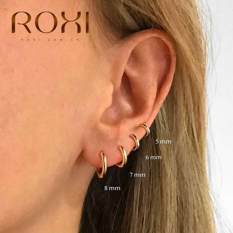 ROXI 빈티지 광택 기하학 원형 원형 925 스털링 실버 귀걸이 여성용 Kolczyki Damskie 후프 귀걸이 Pendientes Mujer