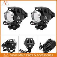 2 sztuk dobrej jakości Motorcross reflektory pomocnicze reflektor U5 reflektory led Moto Spot reflektory przednie lampy Cannon wodoodporna 125w na