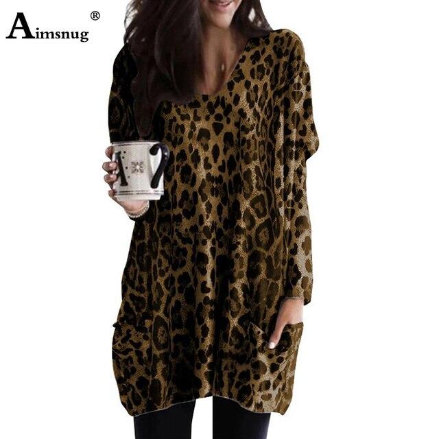 Grande taille 4xl 5xl nouveau imprimé léopard gris européen et américain femme poche hauts automne femmes à manches longues décontracté T-shirt ample