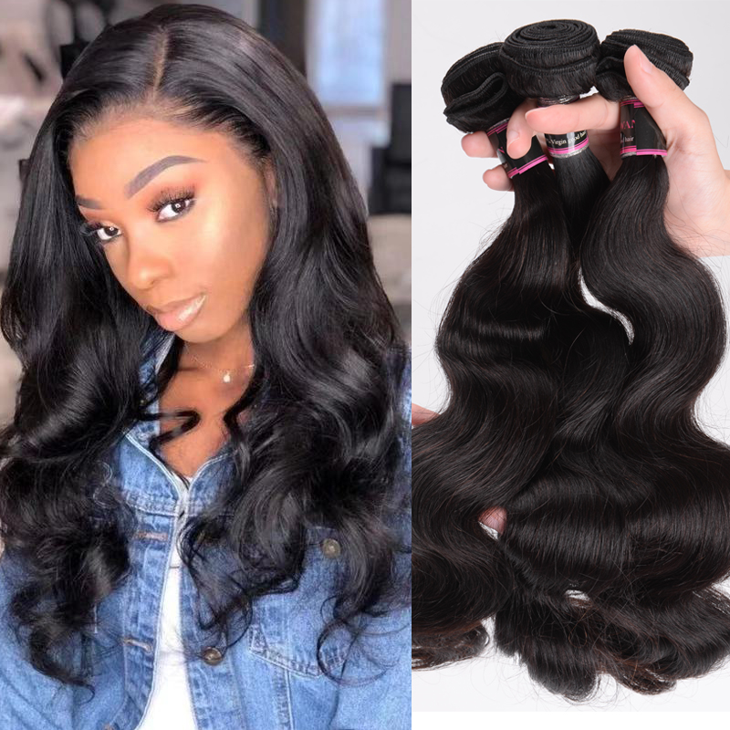 Bouncing Body Wave Hair Bundles 8-40 Inch Brazilian Human Hair Bundles Natural Color 100% Remy Hair Double Drawn Hair Weave