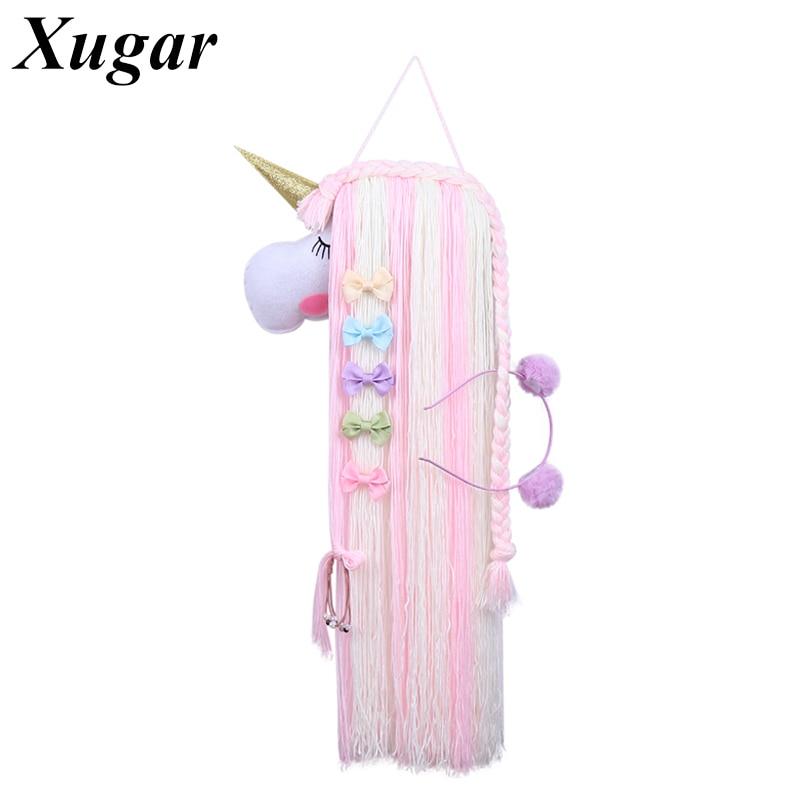Girls' Hair Bows Unicorn Storage Belt Barrette Hairband Organizer Kids Hair Clip Hair Holder Rainbow Color DIY Hair Accessories