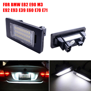 SUHU 2PCS LED 6000K License Plate Number Lights For BMW E90 M3 E92 E70 E39 F30 E60 E61 E93 License Plate Light Lamp white Lights image