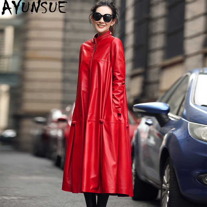 AYUNSUE 100% Real Sheepskin Coat Female Long Trench Coats Autumn Winter Jacket Women Genuine Leather Jacket Chaqueta Mujer MY