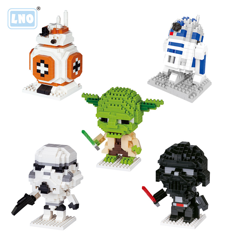 LNO Mini Blocks Hot Selling Vader Master Yoda Anime Action Figures Hand Toys Micro Building Bricks Educational  For Children