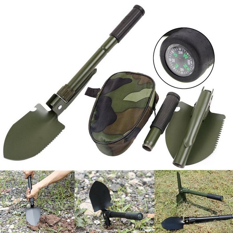 Portable Folding Shovel Garden Tools Compass Multifunctional Folding Shovel Survival Tool Military Survival Spade Emergen Trowel