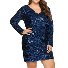 Large Size 5XL Women Party Dress Sexy Sequined Bodycon Cocktail Club Loose Big L