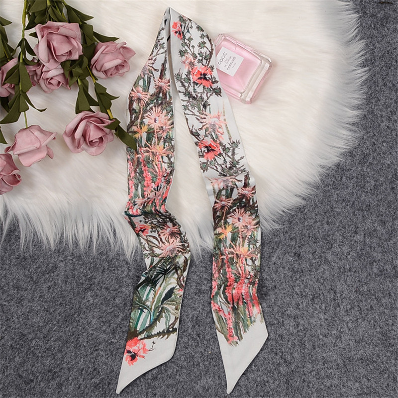 Country Garden Luxury Brand Scarf Women Bag Skinny Scarves 2020 New Design Silk Scarf For Ladies Foulard Wrist Towel Neckerchief
