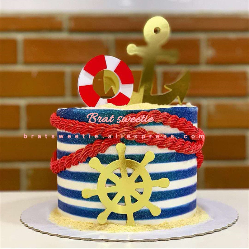 Superb Marine Nautical Party Birthday Cake Topper Ship Wheel Anchor Life Personalised Birthday Cards Veneteletsinfo