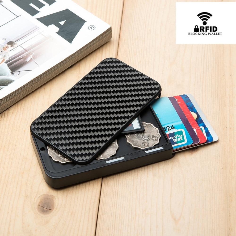 2020 Carbon Fiber Slim Wallet For Men Slim Credit Card Holder RFID Blocking Metal Wallet Purse Male Business Card Holder