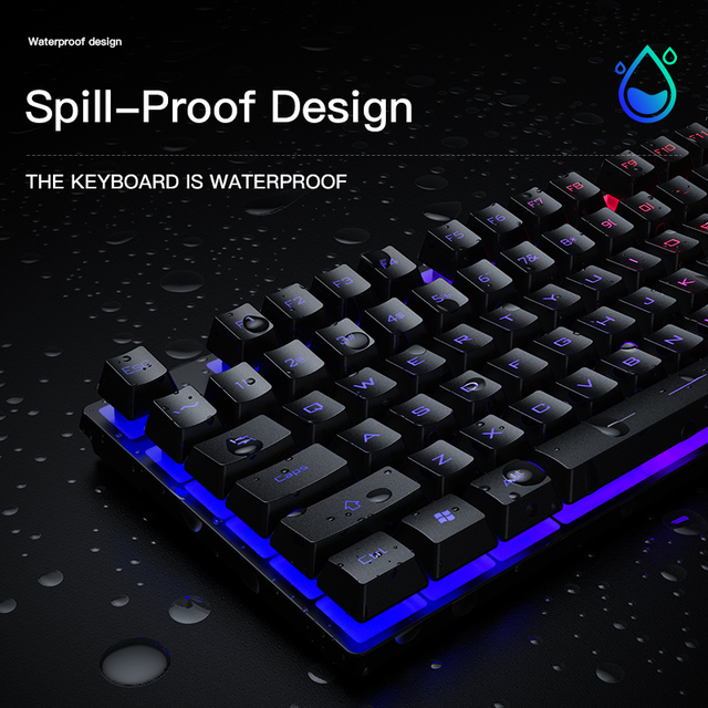 Gaming keyboard and Mouse Wired backlight mechanical felling keyboard Gamer kit Silent 3200DPI Gaming Mouse Set for PC Laptop 4