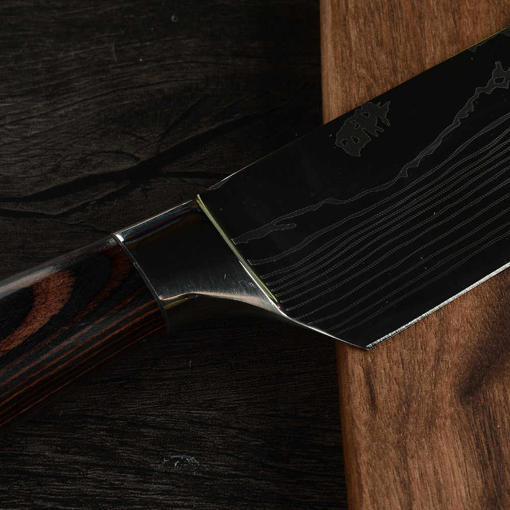 Şam Cleaver mutfak bıçağı 7 inç paslanmaz çelik doğrama japon aşçı şef bıçağı et sebze bıçakları kapak kılıf