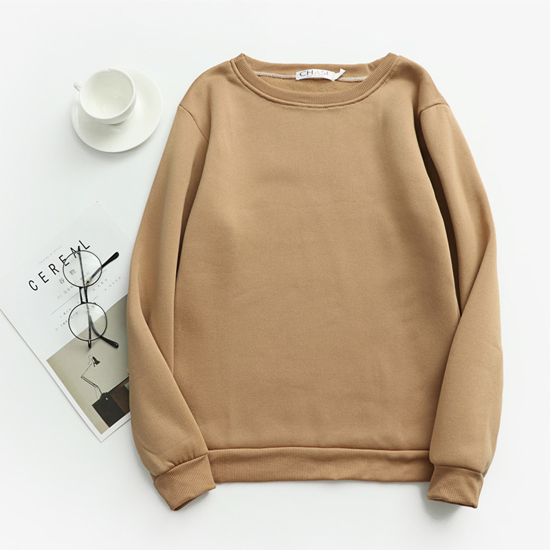 Women Solid Sweatshirts Korean Style Autumn Ladies Student Round Neck Long Sleeve Loose Pullover Tops WDC6301 15