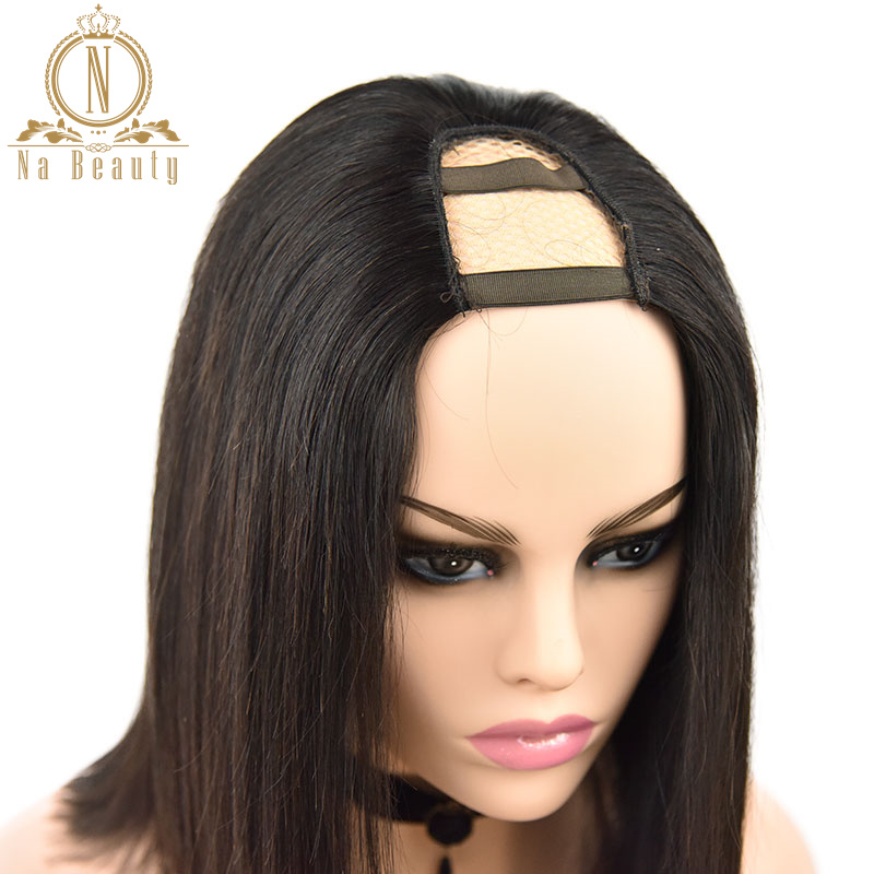 Straight U Part Wigs Human Hair Short Bob Wig Glueless 2