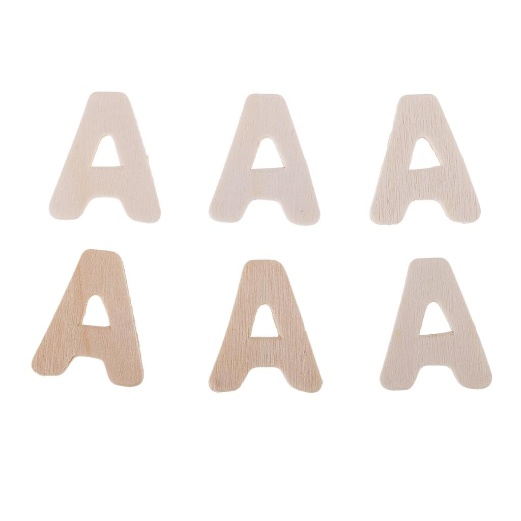 156PCS Wooden Alphabet Letters Upper Case Kids Early Education DIY Scrapbook