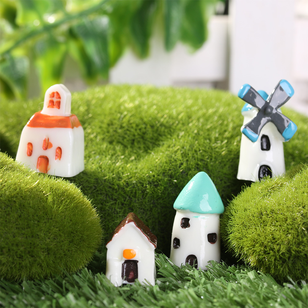 Home Decor Small Windmill Gardening Miniature Castle House Micro Landscape