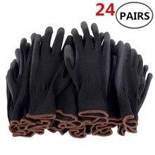 6-24 pares de luvas de trabalho revestidas de segurança nitrílica luvas do plutônio e luvas de trabalho mecânicas revestidas da palma obtiveram ce en388
