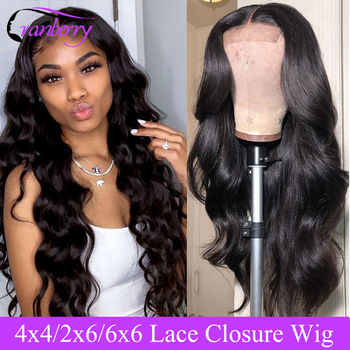 Cranberry Hair 2X6 6x6 Closure Wig Remy Brazilian Body Wave Closure Wig Human Hair Wigs Pre-Plucked Hairline 4x4 Closure Wig