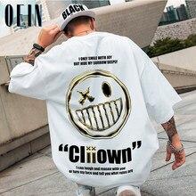 OEIN-camisetas de Hip-Hop para hombre, ropa de calle de verano de gran tamaño, estampado, informal, de algodón, 2021
