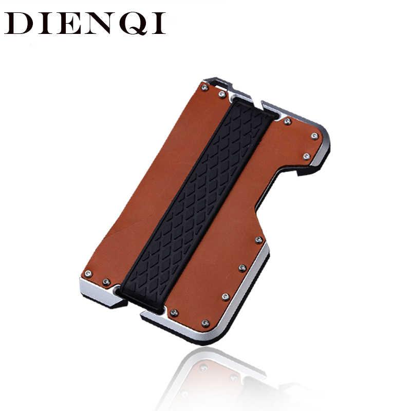 DIENQI New Genuine Leather Card Holder Men Aluminum Metal RFID Blocking Credit Card Holder Slim Minimalist Wallet Cardholder