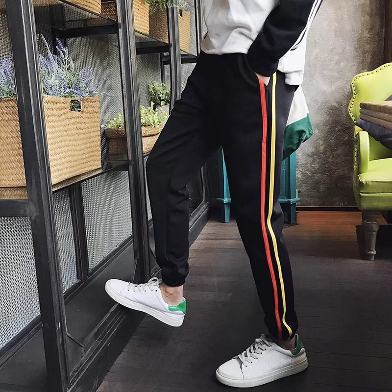 MEN'S Pants Casual Pants Korean-style Trend Loose-Fit Versatile Teenager Students Capri Ankle Banded Pants Thin Summer