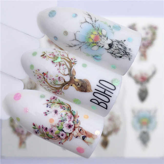 1Pcs Kawaii Elanden Vos Wolf Dier 3D Reliëf Nail Sticker Bloem Lijm Diy Manicure Slider Nail Art Tips Decoraties decals