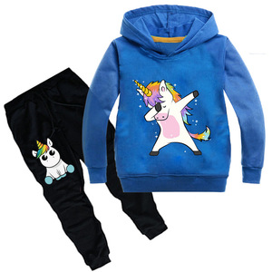 Image 3 - Kids Clothing Sets Cartoon unicorn Outffits  Clothes Suits Baby Boys Girls Hoodie full sleeve T shirt Pants Sport Clothing Sets