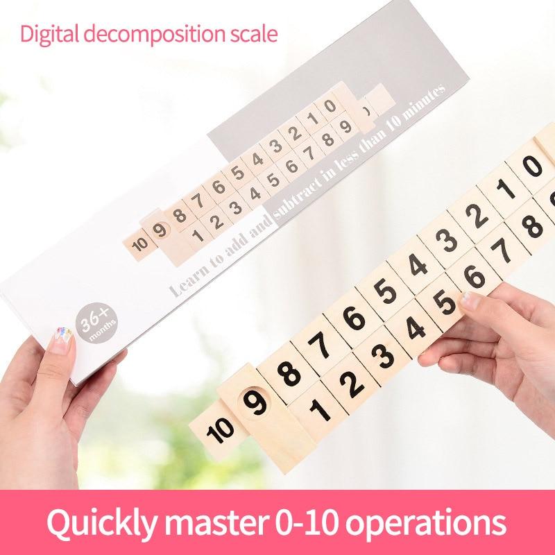 Crianças educação brinquedo de madeira matemática aritmética 1-10 adição subtrair aprendizagem régua primeira infância matemática desenvolver brinquedos inteligência