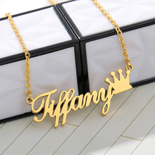 Personalized Name Crown Necklace Customized Font Nameplate Pendant Stainless Steel Chain Jewelry Birthday Gifts Custom Necklace цена 2017