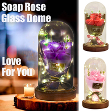 Aromatherapy Soap Rose LED Light Soap Flower Bouquet Glass Dome Wedding Artificial Flower Valentines Birthday Mothers Day Gift недорого