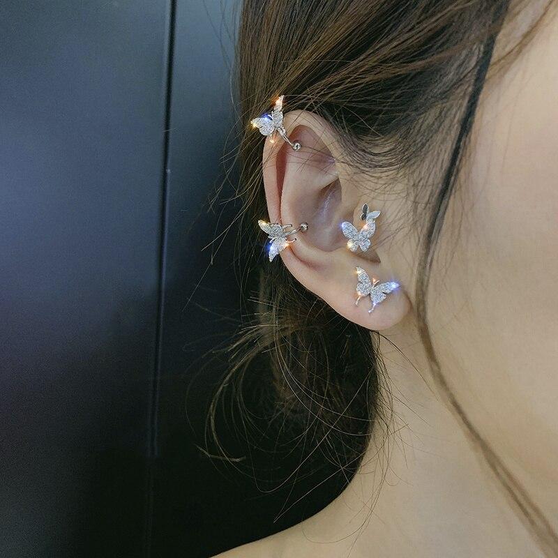 Korean New Zircon Butterfly Earrings for Women Cute Fake Piercing 2020 Punk Statement Clip on Earrings Fashion Jewelry Ear Cuffs
