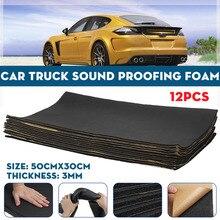 12 adet 50x30cm 3mm araba ses yalıtımı Mat ses yalıtımı gürültü geçirmez pamuk isıya yakın cep köpük etiket
