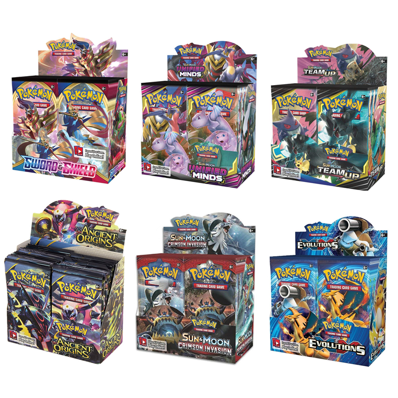 324Pcs Game Collection Cards Pokemon Cards Booster Boxes Sun & Moon Evolution Sword Shield Hidden Fate Trading Card Kids Toys