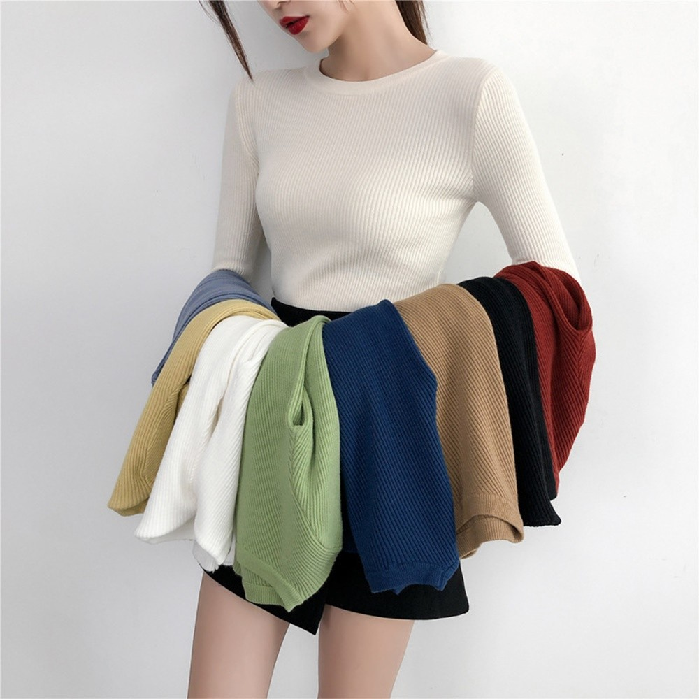 GUMPRUN Women Wild White Sweater 2020 Winter Tops Slim Tight Sweaters Fashion Womens O-Neck Knitted Casual Long Sleeve Pullover