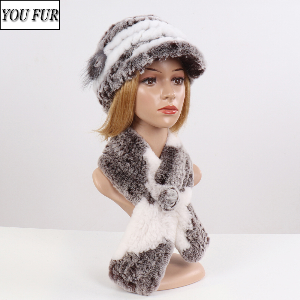 Hot Sale Fashion Girl Fur Cap Lady Winter Natural Real Rex Rabbit Fur Hat Scarf Suite Quality Women 100% Genuine Fur Hat Muffler
