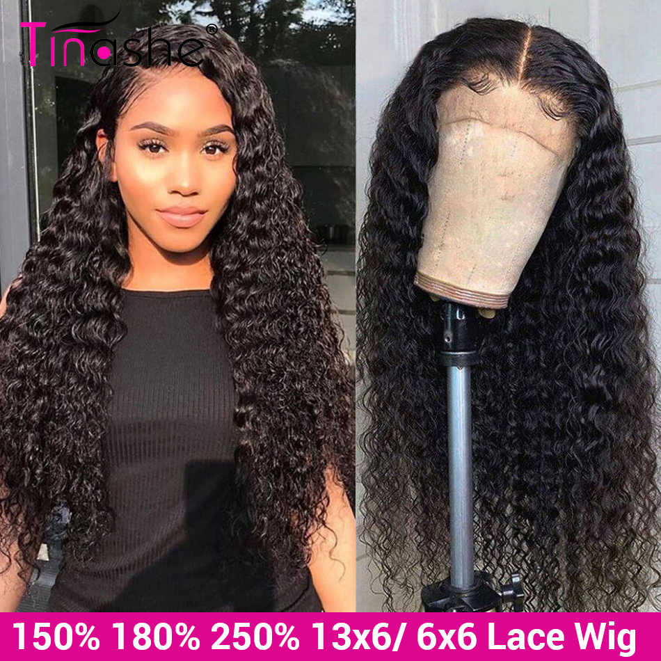 Tinashe Deep Wave Wig 13x6 Lace Front Human Hair Wigs 250 Density Brazilian Lace Front Wig 6x6 Lace Closure Curly Human Hair Wig