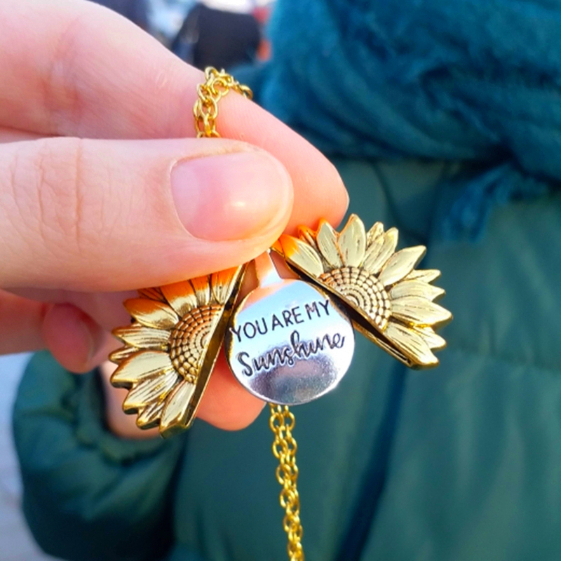 You are my sunshine medalhão aberto, colar de girassol boho jóias de aço inoxidável presentes da amizade colar de carta bff