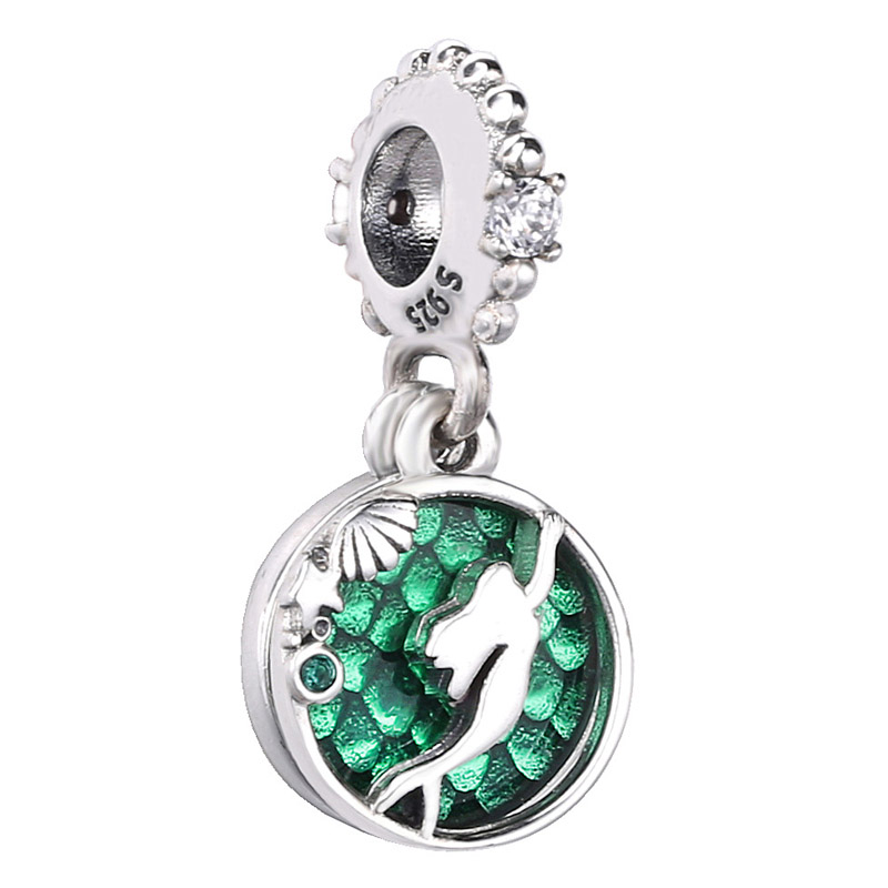 New 925 Sterling Silver Charm Green Enamel The Little Mermaid Ariel Pendant Beads Fit Pandora Bracelet Bangle Diy Jewelry(China)