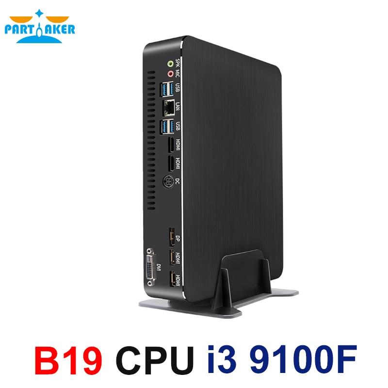 Partaker Gaming Mini Computer Intel Core I3 9100F Dual Graphics Nvidia GTX 1050/1050ti/1650 4GB Mini Dektop PC 2 HDMI DP DVI