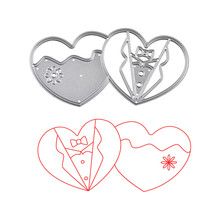 YaMinSanNiO A Couple of Heart Dies Wedding Clothes Metal Cutting For Scrapbooking Embossing Cut Stencils Cards Crafts