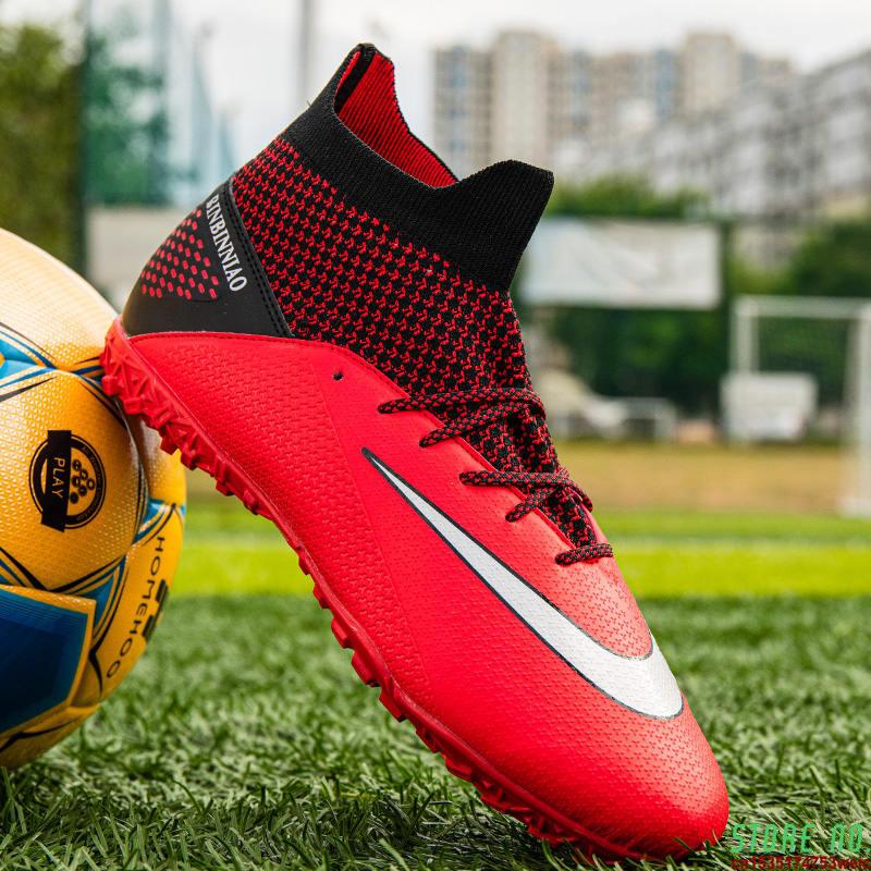 Knit Red Professional Unisex Futsal Shoes Men Socks Soccer Cleats Men Outdoor Sport Anti-slip Football Sneakers Man Botas Futbol