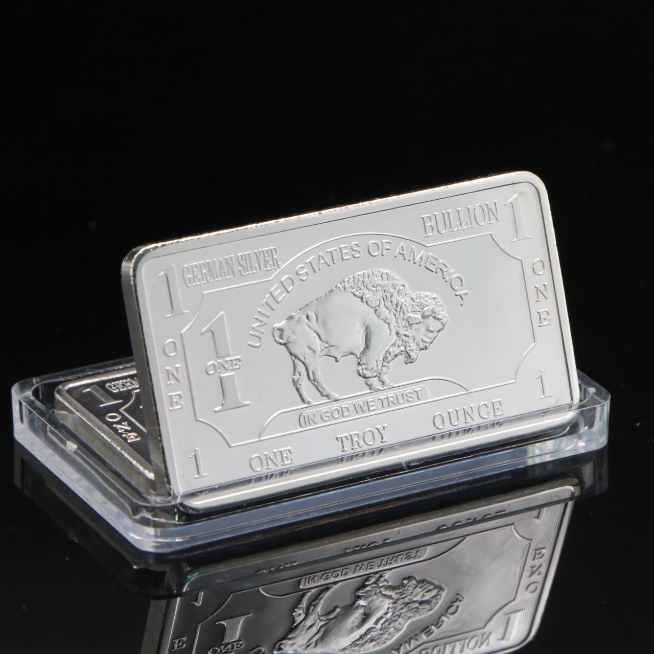 Não magnético alemão hortelã 1 troy onça búfalo alemão prata bullion barra réplica moedas coleção