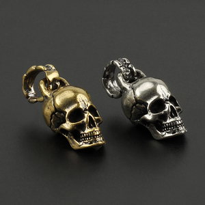 Brass Copper Skull Punk Keychains Pendant Key Chain Charms Key Ring Skeleton DIY Outdoor Accessories(China)