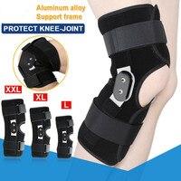 2019 Aluminium Doppel Klapp Knie Brace Unterstützung Medizinische Atmungs Open Laufende Basketball Knie Protektoren M 2XL Ellenbogen & Knie-Pads Sport und Unterhaltung -