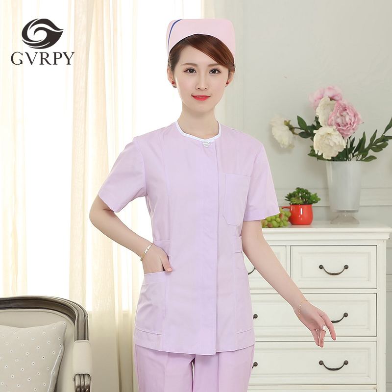Collarless Slim Nurse Uniform Summer Scrubs Medical Uniforms Women Hospital Beauty Salon Dental Clinic Pharmacy Doctor Overalls