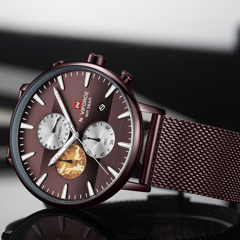 NAVIFORCE Men Watch Top Brand Fashion Luxury Stainless Steel Chronograph Sport Waterproof Quartz Mens Watches Relogio Masculino