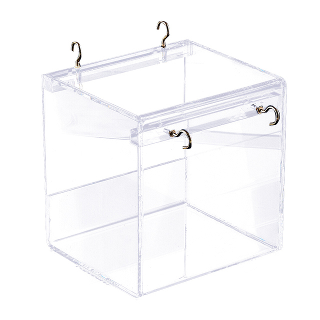 Parrots Acrylic With Hanging Hooks Shower Cockatiel Bird Bathtub Transparent Pet Supplies Parakeets Cage House Spacious Cleaning 1