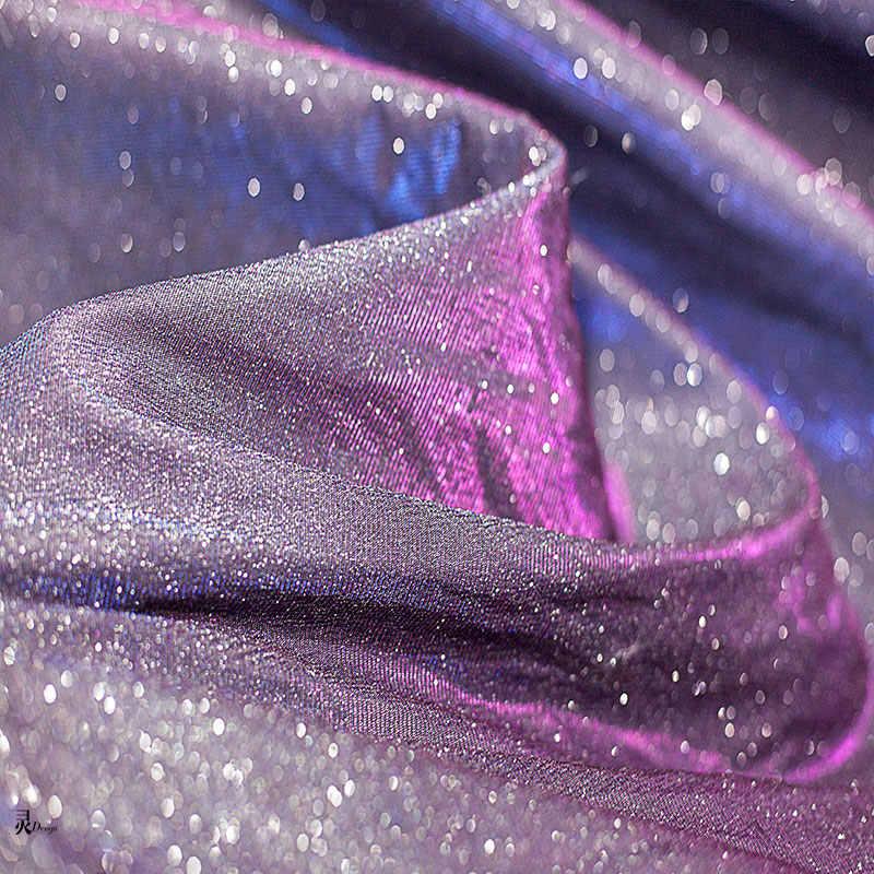 100cm * 145cm rêve réfléchissant laser tissu ciel étoilé mettre en évidence stretch concepteur tissu créatif robe de mariée robe tissu